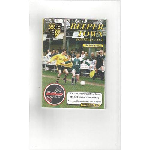 1997/98 Belper Town v Parkgate FA Cup Football Programme
