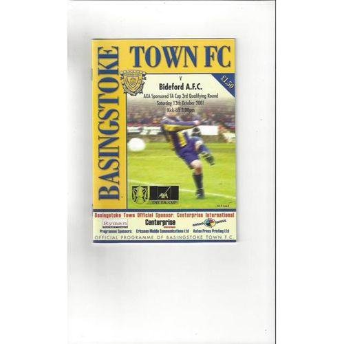 2001/02 Basingstoke Town v Bideford FA Cup Football Programme