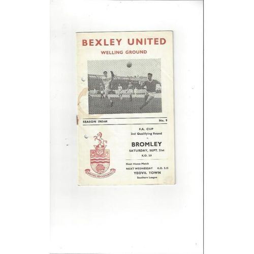 Bexley United v Bromley FA Cup Football Programme 1963/64