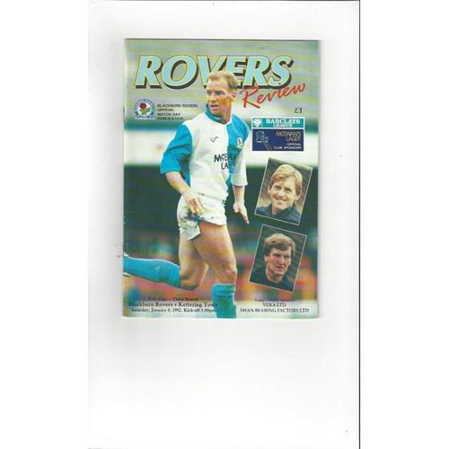 1991/92 Blackburn Rovers v Kettering Town FA Cup Football Programme