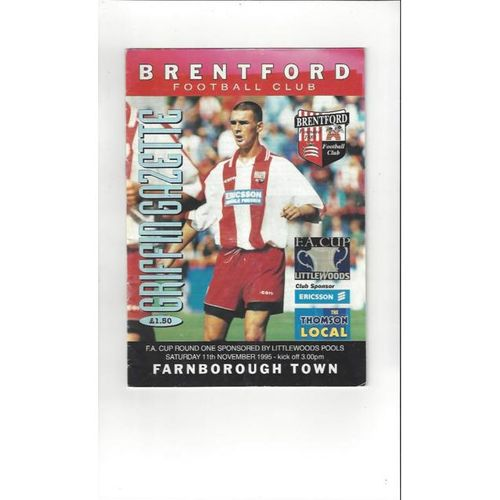 1995/96 Brentford v Farnborough Town FA Cup Football Programme