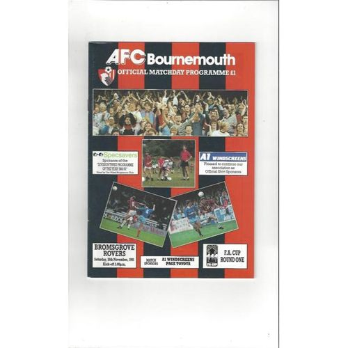 1991/92 Bournemouth v Bromsgrove Rovers FA Cup Football Programme