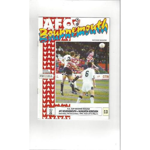 1993/94 Bournemouth v Nuneaton Borough FA Cup Football Programme