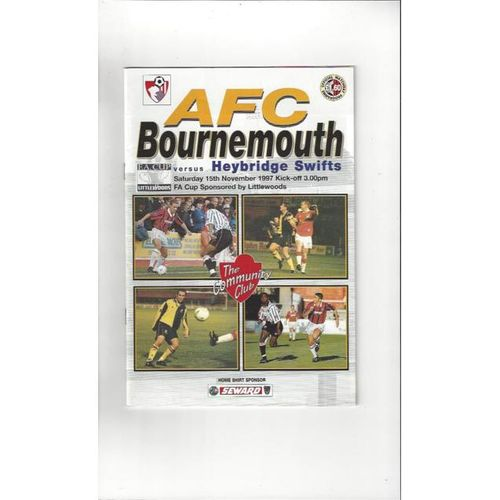 1997/98 Bournemouth v Heybridge Swifts FA Cup Football Programme