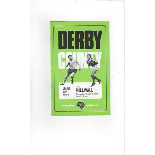 1970/71 Derby County v Millwall League Cup Football Programme