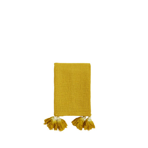 Tasselled hand towel yellow