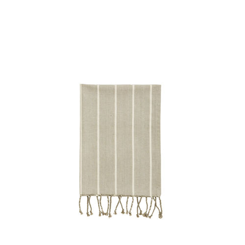 Taupe/White cotton tea-towel