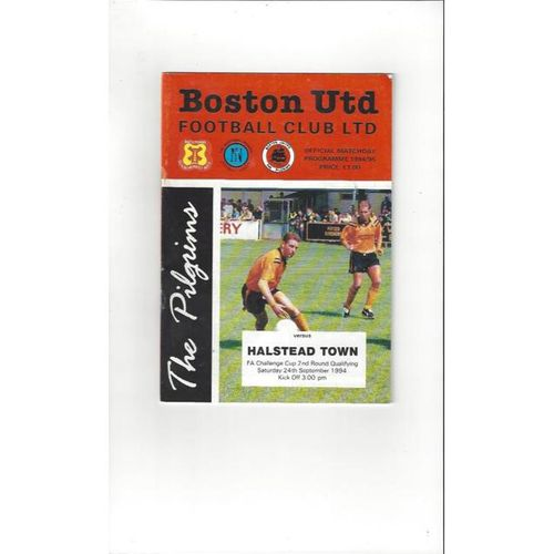1994/95 Boston United v Halstead Town FA Cup Football Programme