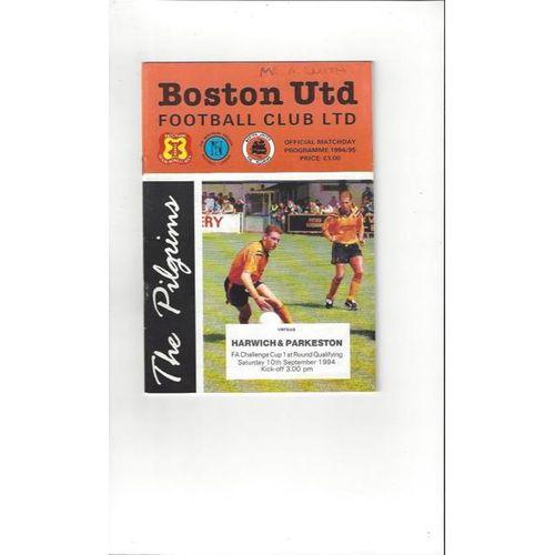1994/95 Boston United v Harwich & Parkeston FA Cup Football Programme