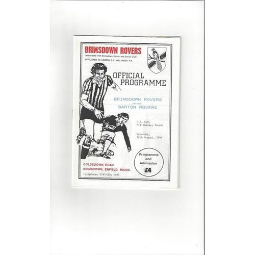 1995/96 Brimsdown Rovers v Barton Rovers FA Cup Football Programme