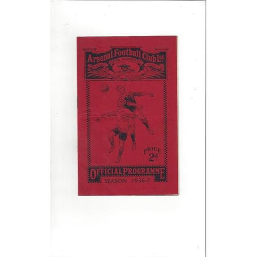 1936/37 Arsenal v Sunderland Football Programme