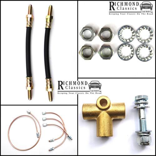 Classic Mini Rear Subframe Copper, Rubber, Brass T-Piece Brake Pipe Kit