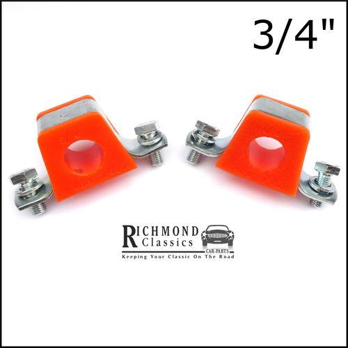 """MGB GT 3/4"""" Anti Roll Bar Orange Polyurethane Bushes with Brackets"""