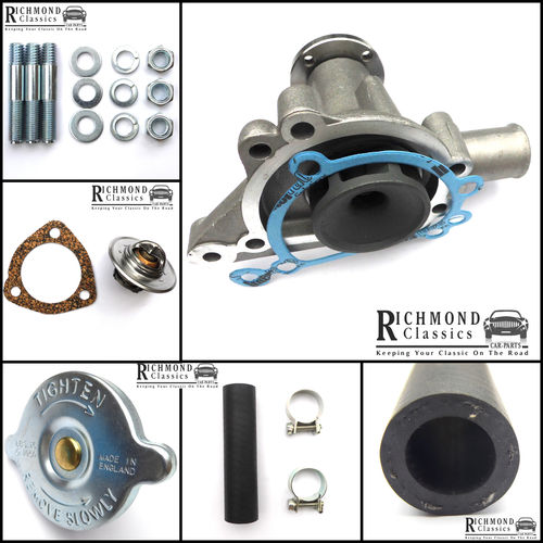 Classic Mini Water Pump with Bypass Hose, Thermostat, Radiator Cap Kit - GWP134