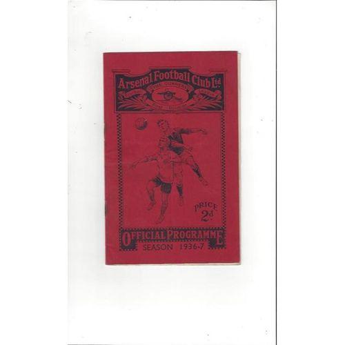 Arsenal v Bolton Wanderers 1936/37 + Season Ticket Form