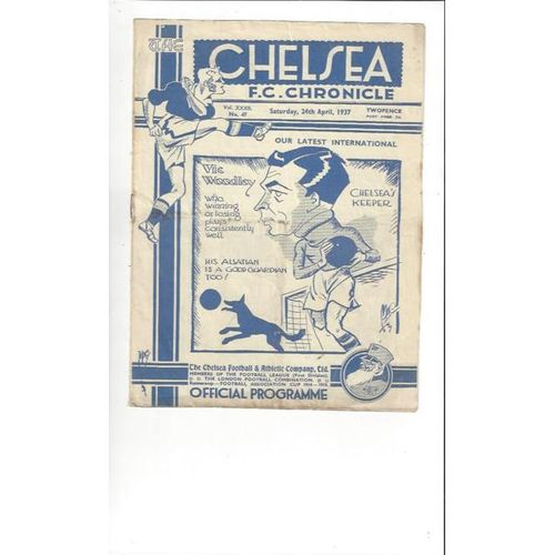 1936/37 Chelsea v Arsenal Football Programme
