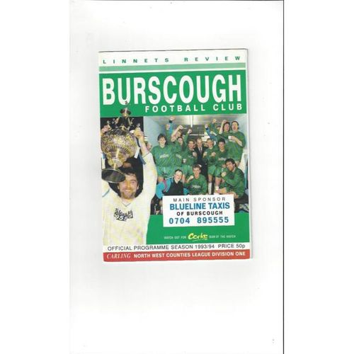 Burscough v Caernarfon Town FA Cup Football Programme 1993/94