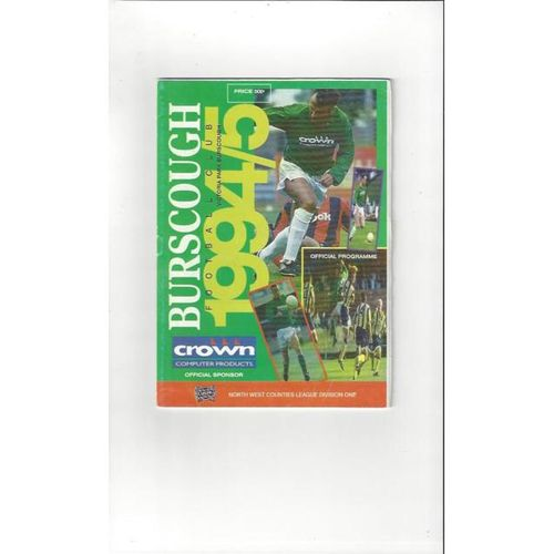 Burscough v Congleton Town FA Cup Replay Football Programme 1994/95