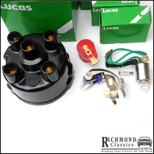 Classic Mini 59D Distributor Cap, Rotor Arm, Points, Condenser Kit Lucas