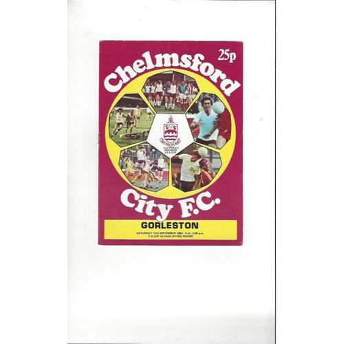 Chelmsford City v Gorleston FA Cup Football Programme 1983/84