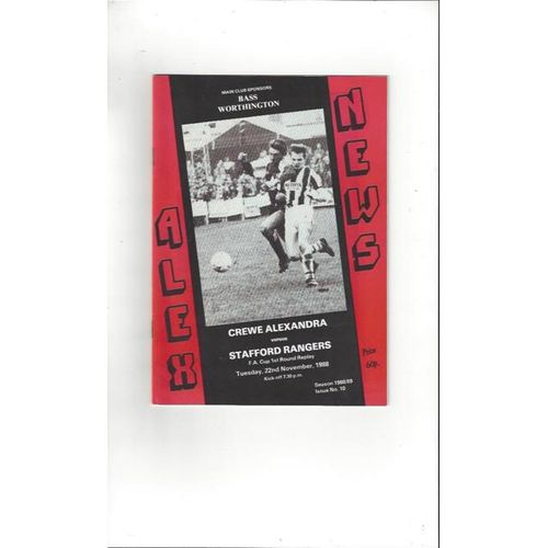 1988/89 Crewe Alexandra v Stafford Rangers FA Cup Replay Football Programme