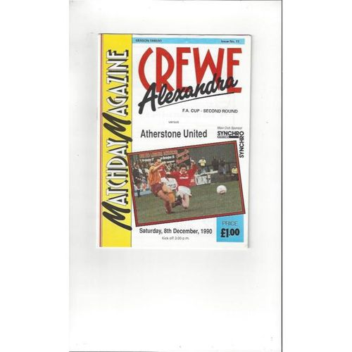 1990/91 Crewe Alexandra v Atherstone United FA Cup Football Programme