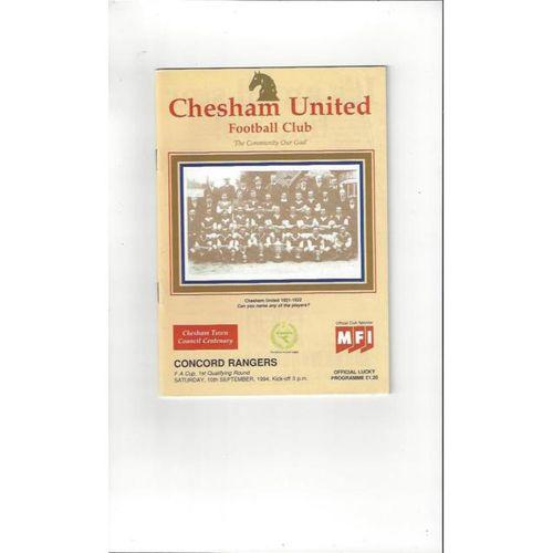 Chesham United v Concord Rangers FA Cup Football Programme 1994/95
