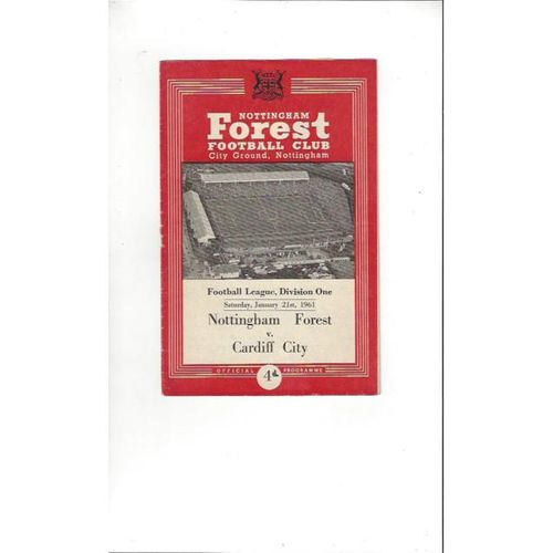 1960/61 Nottingham Forest v Cardiff City Football Programme