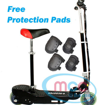 Black Electric E Scooter Ride on Rechargeable Battery With Removable Seat 120W 24V