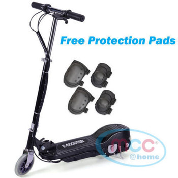 Black Electric E Scooter Ride on Rechargeable Battery Height adjustable 120W 24V