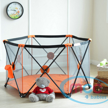 Orange Pop Up Playpen Portable Baby Play Yard