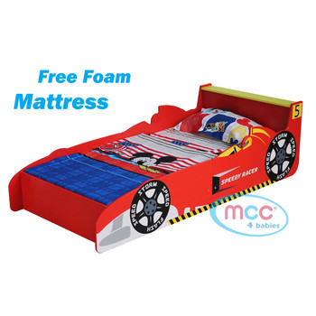 Toddler Bed Race Car With Mattress