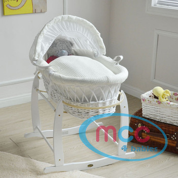 Deluxe White Wicker Moses Basket With Cream Cotton Dressing & Rocking Stand