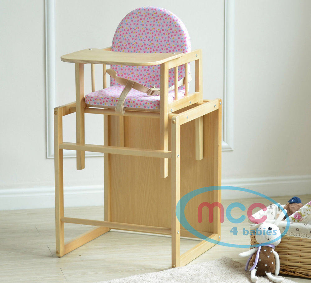 Pink 3 In 1 Baby Wooden High Chair With Play Table Cushion u0026 Harness & Pink 3 In 1 Baby Wooden High Chair With Play Table Cushion u0026 Harness ...