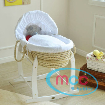 Deluxe Palm Moses Basket With White Cotton Dressing & Rocking Stand