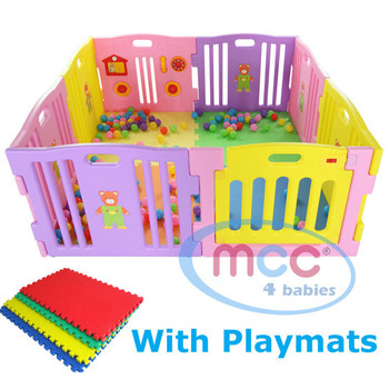 8 Sided Plastic Baby Playpen with Playmats (Pink)
