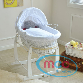 Deluxe White Wicker Moses Basket With White Cotton Dressing & Rocking Stand
