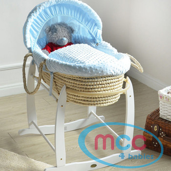 Deluxe Palm Moses Basket With Blue Cotton Dressing & Rocking Stand