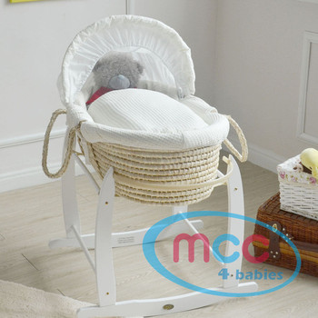 Deluxe Palm Moses Basket With Cream Cotton Dressing & Rocking Stand