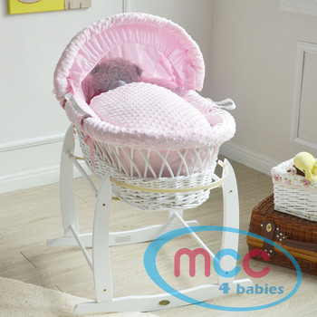 Deluxe White Wicker Moses Basket With Pink Cotton Dressing & Rocking Stand