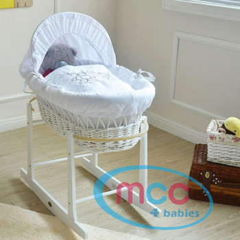 Wicker Moses Basket With Mattress, Cover and Rocking Stand