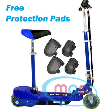Blue Electric E Scooter Ride on Rechargeable Battery With Removable Seat 120W 24V