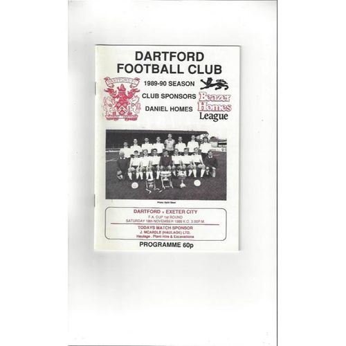 Dartford v Exeter City FA Cup Football Programme 1989/90