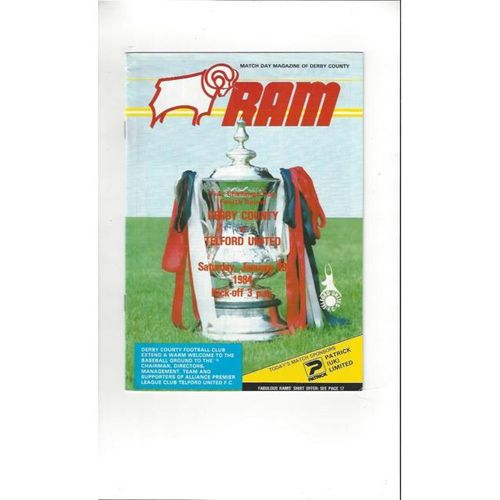 Derby County v Telford United FA Cup Football Programme 1983/84