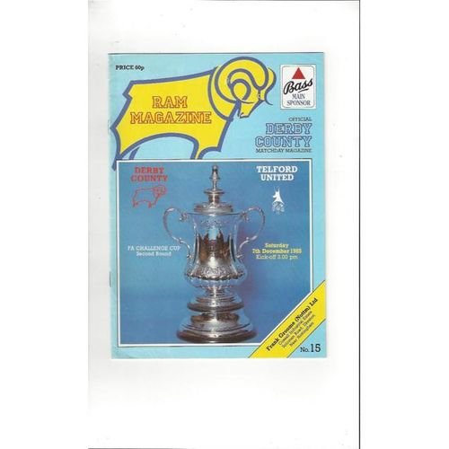 Derby County v Telford United FA Cup Football Programme 1985/86