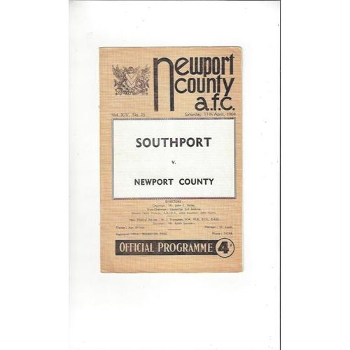 1963/64 Newport County v Southport Football Programme