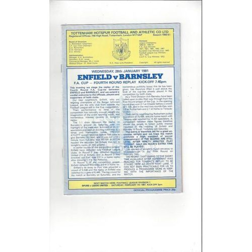 Enfield v Barnsley FA Cup Replay Football Programme 1980/81 @ Spurs