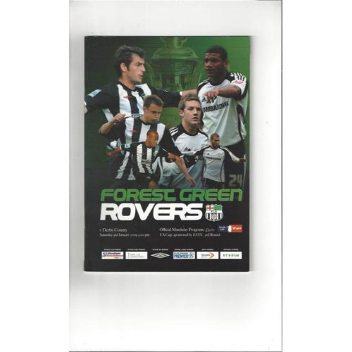 Forest Green Rovers v Derby County FA Cup Football Programme 2008/09