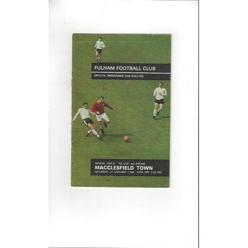 1967/68 Fulham v Macclesfield Town FA Cup Football Programme