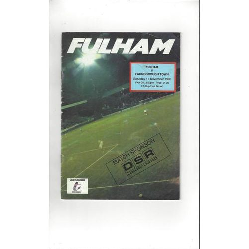 1990/91 Fulham v Farnborough Town FA Cup Football Programme